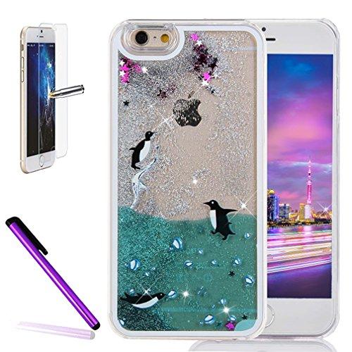 iPhone 6Plus/6S Plus 14cm liquide brillant paillettes Bling cas, newstars Design Double Couche dynamique Fluide flottant Quicksand Coque pour iPhone 6Plus/6S Plus, 3D Design Créatif en plastique tr U Three Penguins