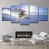 HD Imprimé Paysage Modulaire Cadre Gymnase Toile Peinture 5 Panneau Sports Ski Neige Modulaire Photos Maison Mur Art Décor,A,25x38x2+25x50x2+25x63x1