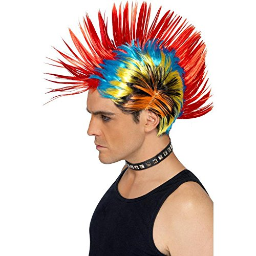 Smiffy's Street Punk Mohawk Wig - Multi-Colour