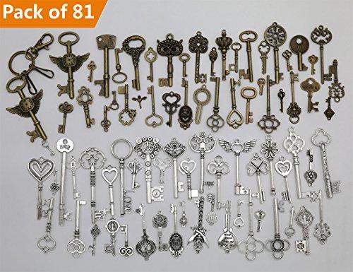 Amupper set di ciondoli in bronzo anticato a forma di chiave, 80 pezzi, con 1 portachiavi-ciondoli fatti a mano in bronzo e argento, gioielli per matrimonio, artigianato, fai da te (confezione da 81 pezzi in totale)