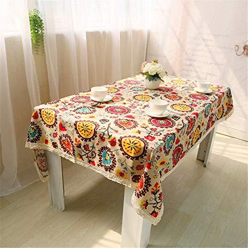 SONGHJ Klassische Baumwolle Leinen Tischdecken Rechteck Sonnenblumen Druck Tischdecke mit Spitze Staubdicht Tischdecken für Hochzeit Home A 140x180cm