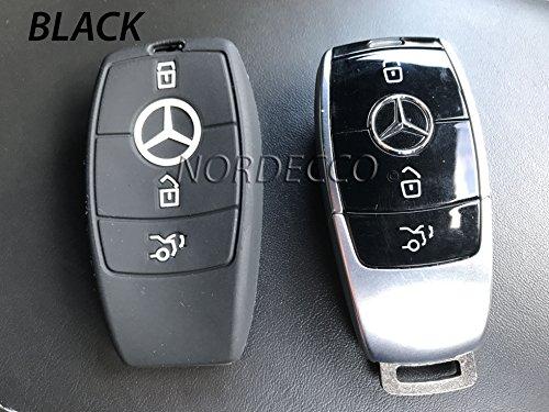 Silikonhülle für Autoschlüsselanhänger, mit 3Knöpfen für Intelligente Schlüsselanhänger, Schutzhülle für 20162017Mercedes-Benz Modelle C-Klasse AMG E-Klasse S-Klasse CLA GLA Hybrid, schwarz Mercedes-benz E-klasse Schlüsselanhänger