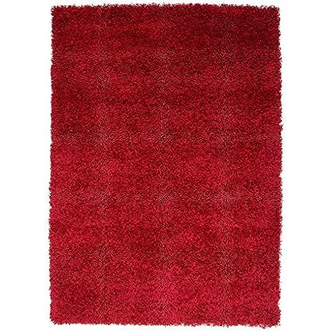 Suave No Cobertizo de grosor Plain fácil de limpiar Shaggy alfombra Ontario–16colores y 14tamaños disponibles, granate, 60cm x 110cm (2ft x 3ft7
