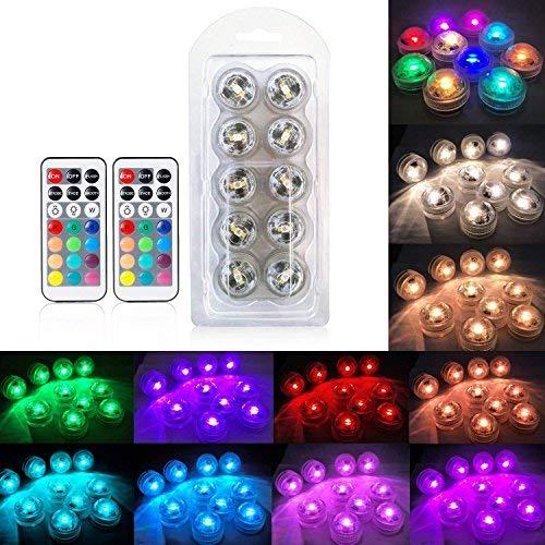 10pcs Unterwasser-LED-Lichter Wasserdichte Unterwasserlichter SMD 3528 RGB Stimmungs-Lichter für Vase, Schüsseln, Aquarium und Parteidekoration IR-Fernsteuerungs - 4
