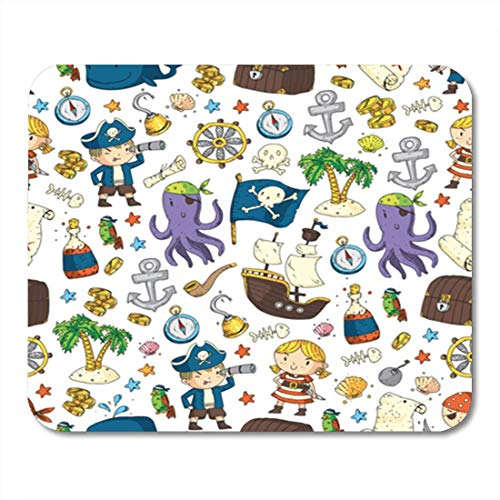 s, Gaming Mouse Pad Pirate Adventures Party Kindergarten for Children Treasure Pirates Octopus Whale 11.8