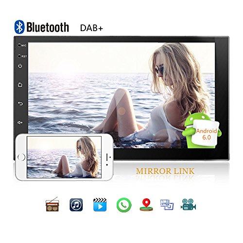 Camecho Autoradio Android 2 Din Navigation GPS Stéréo 7 Pouces Écran Tactile Complet iOS/Lien Miroir Android WiFi Bluetooth Double USB Support Dab + / FM/AM Radio Vue arrière Entrée Caméra/DVR