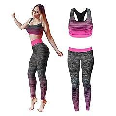 Idea Regalo - Bonjour® - Set di canotta e leggings, da donna, elasticizzati, abbigliamento sportivo, set per yoga e palestra, Pink Crop Top, One Size ( UK 8 - 14 )