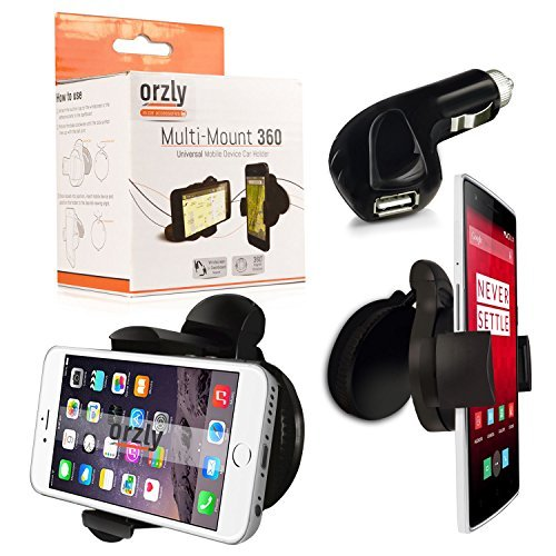Orzly-Multi-Mount-360-Car-Holder-for-SmartPhone-or-GPS-360-Degree-Full-Swivel-Compact-Suction-Mount-with-Landscape-or-Portrait-Capability-Clips-to-just-about-any-window-surface-lip-to-Cars-Air-Vents-T