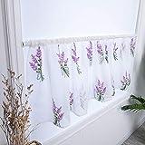 Flor bordada corta cortinas escarpadas, cortina de ventana de voile blanco vintage para cocina baño sala de estar dormitorio