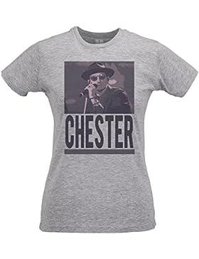 Camiseta Mujer Slim Chester Rock Icon - Maglietta 100% algodòn ring spun LaMAGLIERIA
