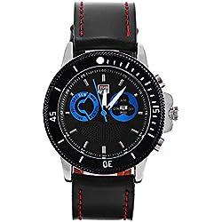 Leopard Shop TVG 469 Digital Quartz Sport Wristwatch Double Movt Men Watch Day Alarm Luminous LED Display Chronograph Blue Black