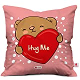 Indigifts Micro Satin, Fibre Hug Me Cushion Cover with Filler, 12X12 (Pink, IDSRAC16112)