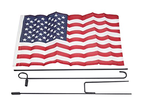 Illinois Industrial 12x18 United States American Garden Flag with Hanging Pole Set USA Outdoor New