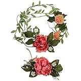 Toruiwa Bandeau Serre-tête Fleurs Artificielles Guirlande Couronne de Fleurs Bracelet pour Jeunes Filles Mariée Accessoires Cheveux Chapeau Ornaments
