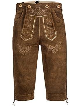 Herren Trachten Lederhose Kniebundhose mit Trägern aus Rindveloursleder Rehbraun