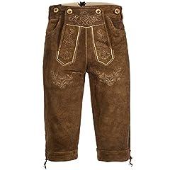Idea Regalo - Lederhose pantaloni alla zuava in pelle mens con il marrone chiaro con giarrettiere GERMAN OKTOBERFEST TRADIZIONALMENTE 48