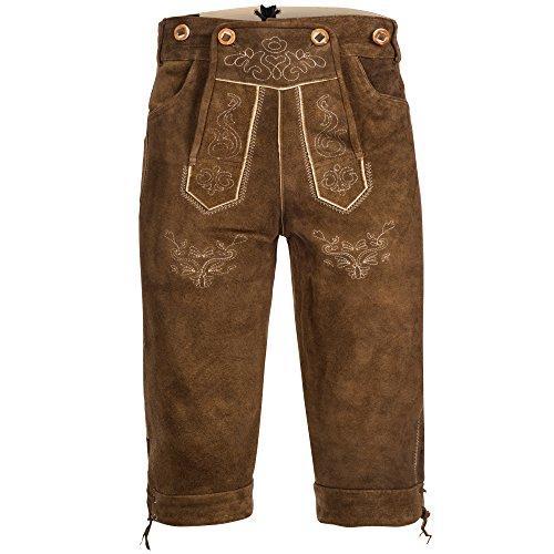 Bongossi-Trade Lederhose pantaloni alla zuava in pelle mens con il marrone chiaro con giarrettiere GERMAN OKTOBERFEST TRADIZIONALMENTE 50