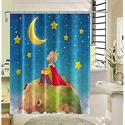 Aliyz Impression numérique Style regardant Les étoiles Petit Prince Rideau Douche Polyester Tissu imperméable la Salle Douche Comprenant 12 Crochets Plastique