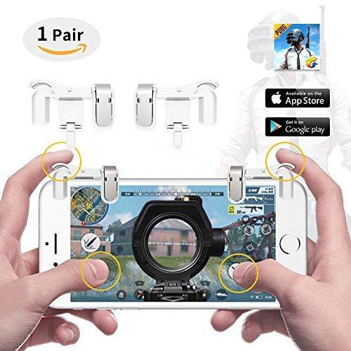 """LTC """"ScissorHands"""" Trigger M2 pour Mobile Game, Boutons Métalliques, Sensible Shoot et But comme L1R1 de Joysticks Jeu Portable pour PUBG / Règles de Survie, Fit pour Android ou IOS Smartphone-Blanc"""