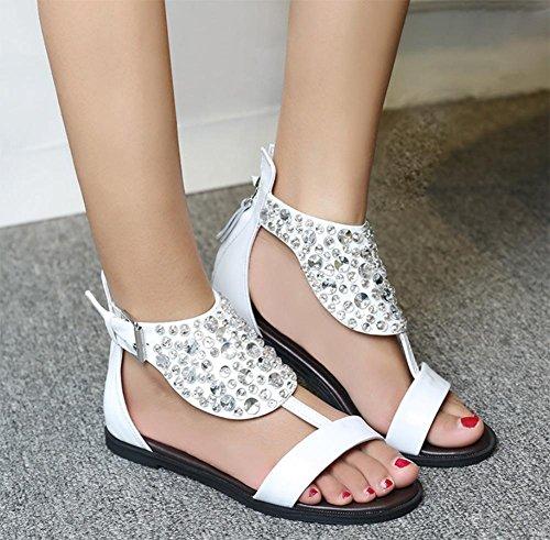 Flache Sandalen Strass Schnalle Schuhe Sandalen Sommer Sandalen und Pantoffeln White