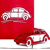 Pop Up Karte'VW Käfer' in Rot - 3D Geburtstagskarte, Glückwunschkarte & Karte zum Führerschein - mit filigranem 3D Auto Modell als Geschenk, Geschenkverpackung und Reisegutschein
