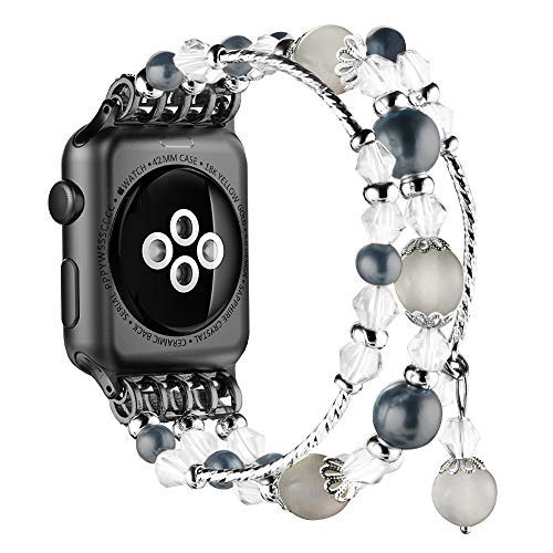 Simpeak Replacement iWatch Band Women Girl Fashion Beaded Elastic Bracelet Band Strap for 38mm 40mm Apple Watch Series 4, Series 3, Series 2, Series 1, Black