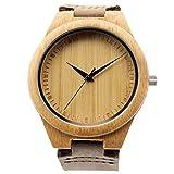 Moda Reloj De Pulsera Para Hombre De Madera Bambú Con Correa De Cuero