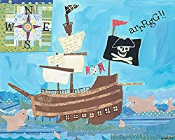 Oopsy daisy Treasure Ship Stretched Canvas Wall Art by Winborg Sisters, 30 by 24-Inch