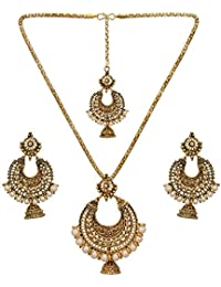 Nishivjewels Traditional Gold OXO Pendant Set In Pearls With Tika And Earrings For Women