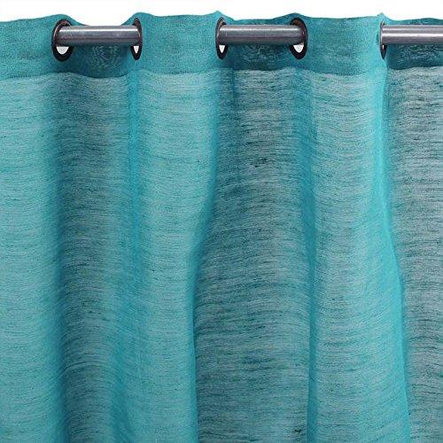 MonbeauRideau Tenda in Juta e Cotone, Colore: Blu Fantasia, 150 x 250 cm