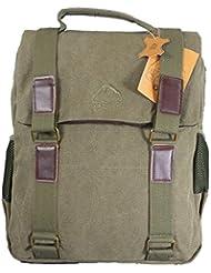 Toile et cuir sac à dos vert olive hommes sac d'ordinateur portable sac à dos. Canvas Rucksack.