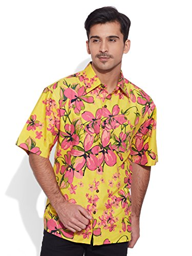 Very Me Men's Designer Yellow Pure Cotton Printed Beach Shirt Size:- 44 / Xxl  available at amazon for Rs.999