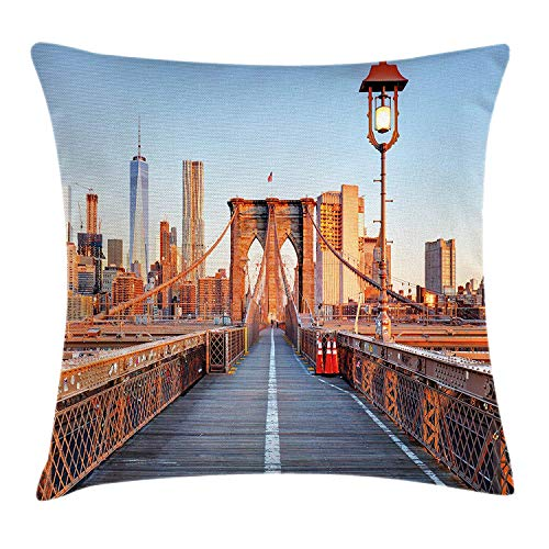 (MLNHY City Throw Pillow Cushion Cover, New York Skyline Closeup Brooklyn Bridge in Manhattan Over Hudson River, Decorative Square Accent Pillow Case, 18 X 18 inches, Orange Pale Blue Grey)