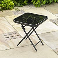 Kingfisher Mesa plegable para jardín o patio - ideal para bebidas - color negro
