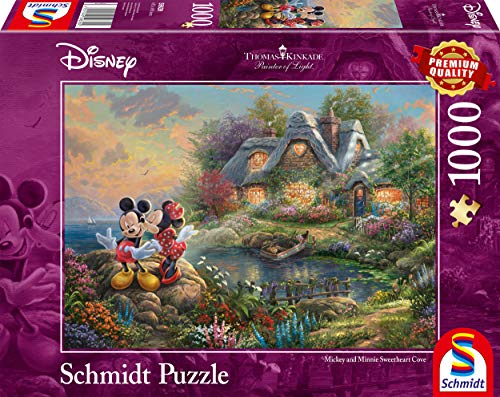 Schmidt Spiele Puzzle 59639 Thomas Kinkade, Disney-Sweethearts Mickey & Minnie, 1.000 Teile Puzzle, bunt