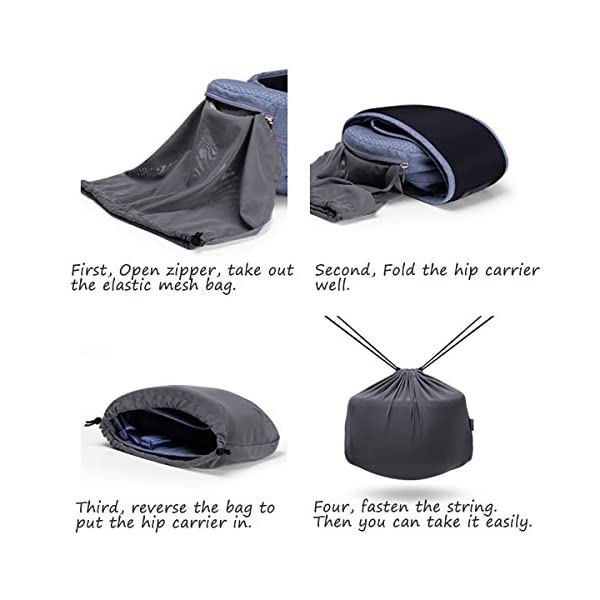 Bebamour Foldable Baby Carrier Hip Seat Baby Carrier Newborn to Toddler with Large Pockets Ergonomic Toddler Waist Seat for 0-36 Months (Light Grey) bebear ❤️Unique Designed - The baby carrier can be foldable. There is a foldable aluminum tube support in the hip seat. When you going out, you can folding the hip seat and put into the pouch easily. ❤️Two Zipper Pockets - 1 front zipper pocket can put bottles, diapers. 1 side zipper pocket fits cellphone or other small things. It is good for you to take your baby outside without bag. ❤️Three Carry Styles: Horizontal Position, Facing Inward and Facing Forward Position. Weight 33 pounds and for your baby who is 0-36 months. 4