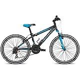 TORPADO Bicicleta de montaña, infantil, 24'', 3 x 6 V, color negro y