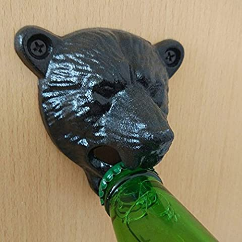 Loveso Black Grizzly Bear Beer Bottle Opener Cast Iron Lodge Cabin Wall Mounted Pub Bar