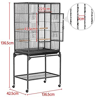 Yaheetech Mobile Large Parrot Cage w/Stand Bird Cage for Conures Parakeets Cockatiels, Pet Cage for Small Animal, Large Rolling Metal Pet Cage with Detachable Stand Black from Yaheetech
