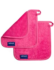 LaBeauté Make-Up Entferner-Tücher (2 Stück), Gesichtsreinigung und Abschmink-Tücher, waschbar und wiederverwendbar,21 x 21 cm, Pink