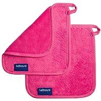 Toallitas desmaquillantes reutilizables La Beauté – Toallas para cara ecológicas y lavables – Toalla de microfibra para limpieza facial - 21 x 21 cm – Rosa - 2 unidades