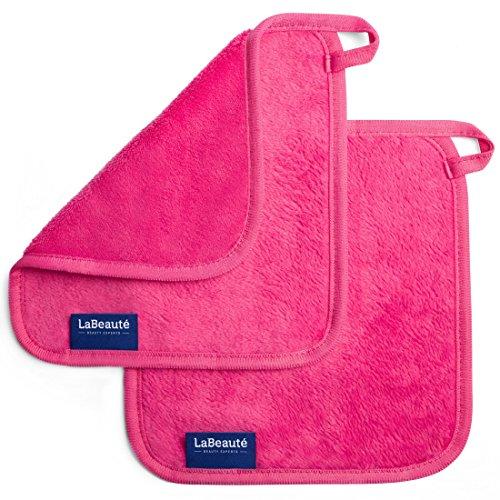 LaBeauté Make-Up Entferner-Tücher (2 Stück), Gesichtsreinigung und Abschmink-Tücher, waschbar und wiederverwendbar(21x21 cm, Pink)