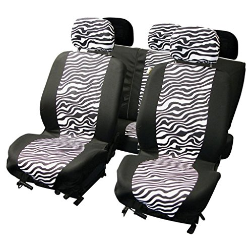 Wlw Universal Fit Zebra Style Car Seat Covers Black White Type 28