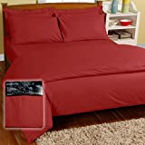 Homescapes 200 Thread Count Ultrasoft - Plain Red Fitted Sheet - King, 100% Egyptian Cotton Percale, Anti Dust Mite