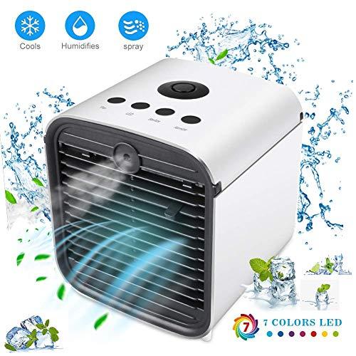 Mini Air Cooler Ventilateur de Refroidissement à Eau Portable avec Ventilateur mini refroidisseur d'air USB et 3 Niveaux de Ventilation 7 Couleurs (Blanc)