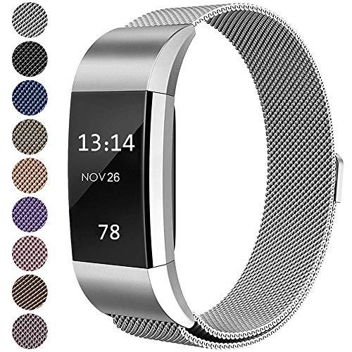 LINCCI Für Fitbit Charge2 Armband, Damen Herren Frauen Magnet Milanese Edelstahl Metall Ersatzarmband mit Magnetverschluss Armbänder für Fitbit Charge 2 Original Strap Uhrband Uhrenarmband Silber