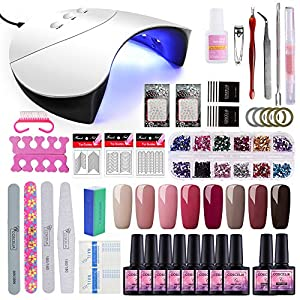 Saint-Acior 36W UV Lámpara LED Secador de Uñas kit Uñas de Gel 8pcs Esmalte Semipermanente Gel Uñas Top Coat Base Coat para Manicura Pedicura
