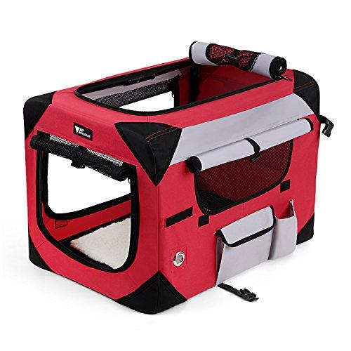 Amzdeal Hundebox Katzentransportbox, Faltbare Transportbox katzen und Hunde, Klappbare Autobox Hundetransportbox, Reisebox mit Weicher Decke und Seitlichem Einstieg, 60 x 42 x 42cm, rot-grau