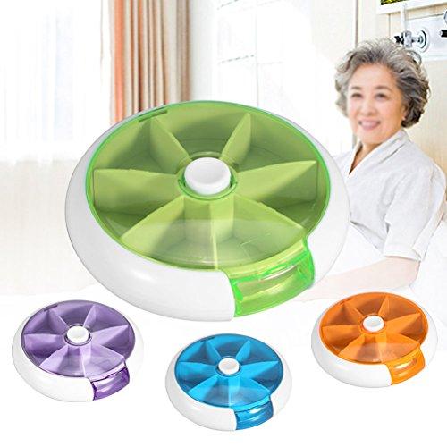 51KnNxiaGkL - ROSENICE Pastillero Semanal 7 Compartimentos Organizador Dispensador de Pastilla (Verde)