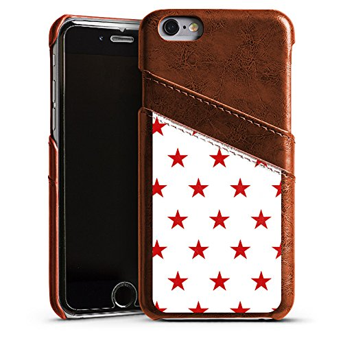 Apple iPhone 5s Housse Étui Protection Coque Étoile Rouge blanc Motif Étui en cuir marron